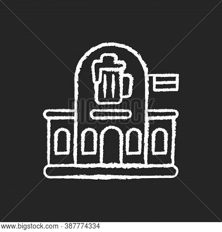Pub Chalk White Icon On Black Background. Bar Front To Drink Ale. Beer Store. Alcoholic Beverage Sho