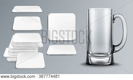 Beer Cup And Coasters. Empty Glass Tankard And Blank Cardboard Mats For Mug Of Square Shape. Beermat