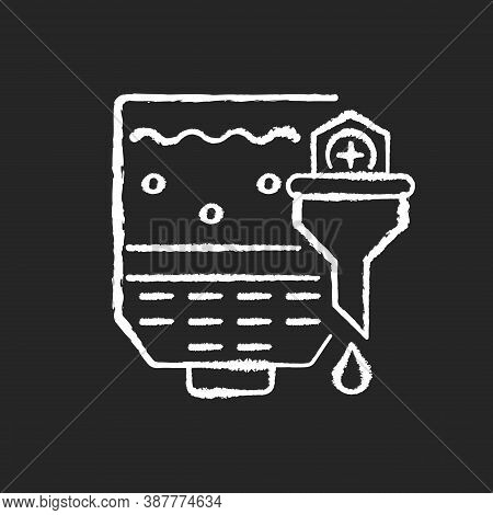 Mashing Chalk White Icon On Black Background. Brewery Production. Industrial Appliance To Produce Be