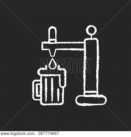 Draught Beer Chalk White Icon On Black Background. Pouring Lager In Mug. Beverage From Bar. Pub Menu