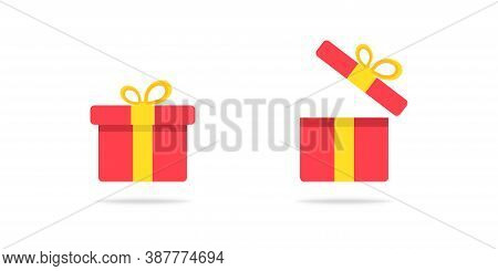 Gift Box In Flat Design. Isolated Red Closed And Opened Present Box. Package Box With Yellow Ribbon.