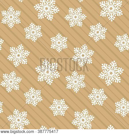 Seamless Pattern With Openwork White Snowflakes On A Striped Beige Background. Vector Template For F