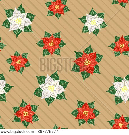 Red And White Poinsettia Flowers On A Striped Beige Background. Christmas Symbol. Vector Seamless Pa