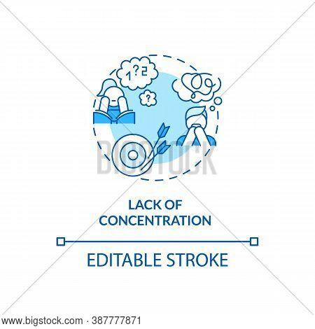 Concentration Loss Concept Icon. Screen Addiction Symptom Idea Thin Line Illustration. Problems In D