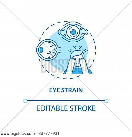 Eye Strain Concept Icon. Screen Addiction Symptom Idea Thin Line Illustration. Computer Screen Exper