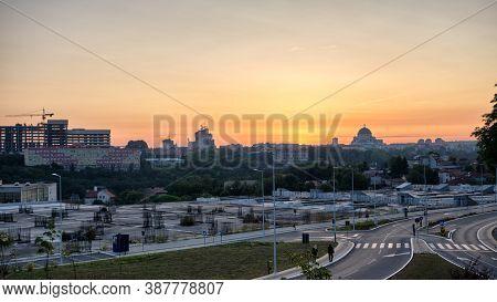 Sunrise View Of Belgrade, Capital Of Serbia, Dominated By Church Of Saint Sava