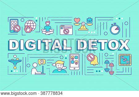 Digital Detox Word Concepts Banner. Offline Time. Limited Internet Usage. Infographics With Linear I