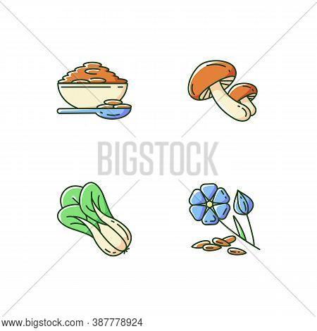 Healthy Grains Rgb Color Icons Set. Organic Shiitake Mushrooms. Eco Seed Meal Ingredients. Natural G