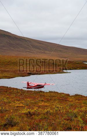 Seaplane By A Scenic Lake On A Fall Day In Canadian Nature. Taken Near Tombstone Territorial Park, Y
