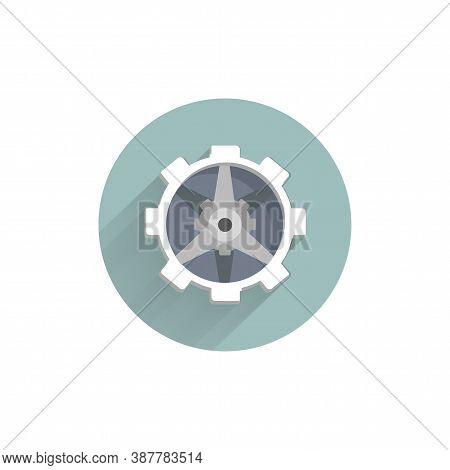 Settings Flat Icon. Gear Icon. Mechanism Colorful Flat Icon With Long Shadow. Mechanism Flat Icon