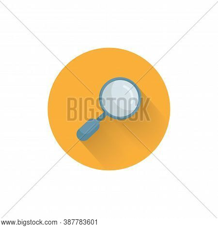 Magnifier Colorful Flat Icon With Long Shadow. Magnifying Glass Search Flat Icon