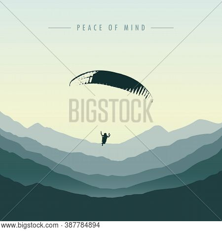 Peace Of Mind Paraglider In Green Mountain Vector Illustration Eps10