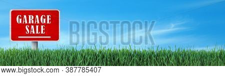Sign With Phrase Garage Sale In Green Grass Under Blue Sky, Banner Design