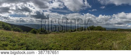 Panorama From Ridge Of Poloniny National Park In Summer Cloudy Blue Sky Day