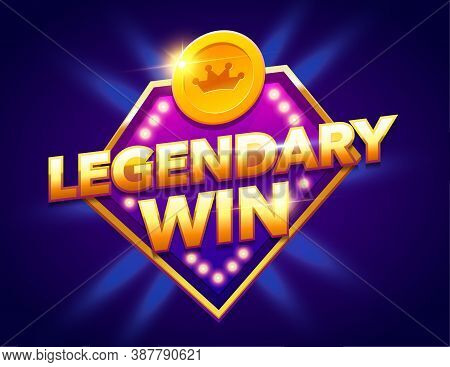 Retro Sign With Lamp Legendary Win Banner. Vector Illustration Design With Poker