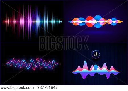 Abstract Sound Wave. Music Waves, Frequency Equalizer And Voice Recognition Personal Assistant. Soun