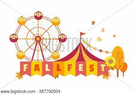 Hand Drawn Fall Fest Entertainment Flat Color Vector Icon. Fall Fair Event Design Element. Autumn Fe