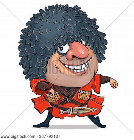 Vector Illustration. Funny Cartoon Caucasian Man In National Costume. The Lezginka Folk Dance Is Dan