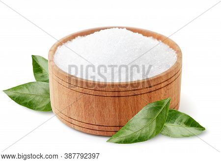 Citric Acid In Wooden Plate With Green Leaves On White Background, Isolated. Lemon Acid