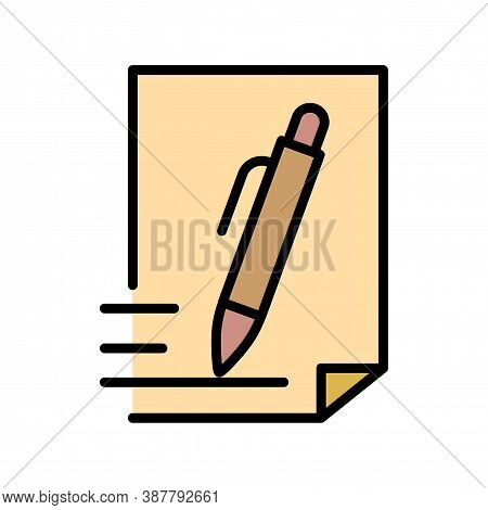 Pen And Document Icon. Outline Pen And Document Vector Icon For Web Design Isolated On White Backgro