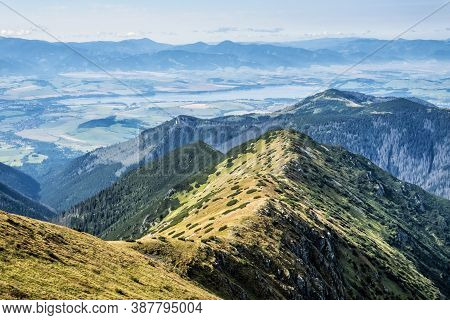 Liptov Basin From Salatin Peak, Western Tatras, Slovak Republic. Hiking Theme. Seasonal Natural Scen