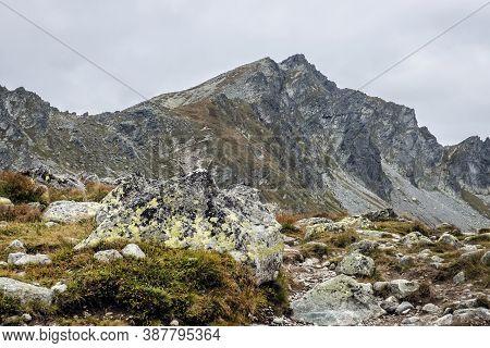 Koprovsky Peak From Mengusovska Valley, High Tatras Mountains, Slovak Republic. Hiking Theme. Season