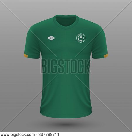 Realistic Soccer Shirt , Ireland Home Jersey Template For Footba