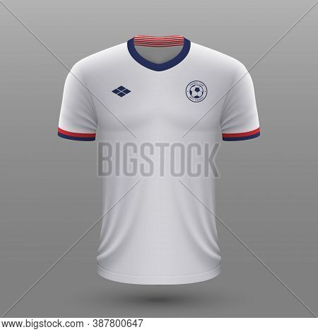 Realistic Soccer Shirt , Usa Home Jersey Template For Football K