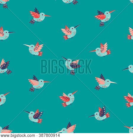 Cute Hummingbirds Seamless Vector Pattern On Teal Background. Flying Birds, Hummingbirds, Colibri On