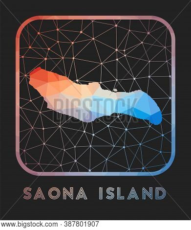Saona Island Map Design. Vector Low Poly Map Of The Island. Saona Island Icon In Geometric Style. Th
