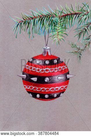 Hand Drawn Christmas Tree Decoration Ball On The Needle Branch In Hard Rock Heavy Metal Punk Rock Mu