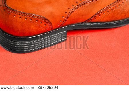 Mens Shoes Close - Up On A Red Background With A Copy Of The Space. Mens Fashion. Sale And Delivery