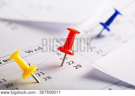 Important Date Or Calendar Appointment.pins On Calendar.