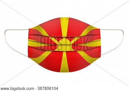 Medical Mask With Macedonian Flag. 3d Rendering Isolated On White Background