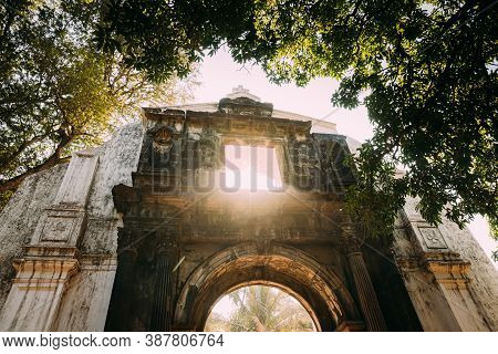 Old Goa, India. Old St. Pauls College Gate. Famous Landmark And Historical Heritage. St. Pauls Colle