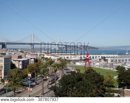 San Francisco - September 30, 2010: Aerial Of San Francisco Cityscape With Embarcadero Road, South B