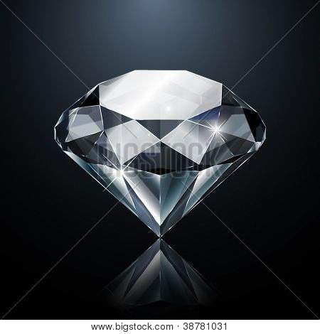 Dazzling diamond on black background