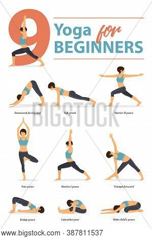 Infographic 9 Yoga Poses For Workout At Home In Concept Of Yoga For Beginners In Flat Design. Women