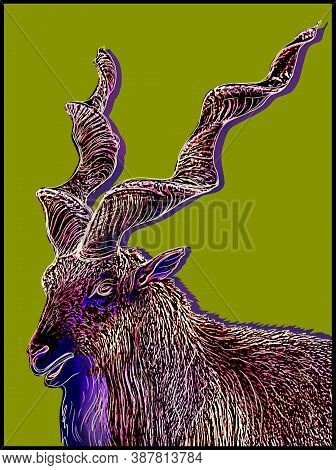 The Image Of A Mountain Goat On A Bright Background, Graphics, Pop Art, Digital Art. Zoological Prin