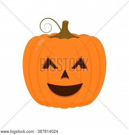 Halloween Pumpkin With Funny Face Icon Isolated On White. Cute Cartoon Jack-o -lantern. Halloween Pa