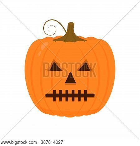 Halloween Pumpkin With Spooky Face Icon Isolated On White. Cute Cartoon Jack-o -lantern. Halloween P