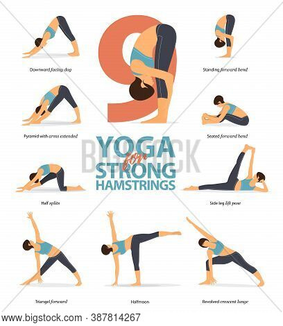 Infographic 9 Yoga Poses For Workout At Home In Concept Of Strong Hamstrings In Flat Design. Women E
