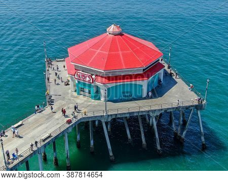 Aerial View Of Huntington Pier With Rubys Diner During Sunny Summer Day, Southeast Of Los Angeles. C
