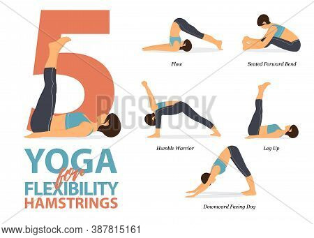 Infographic 5 Yoga Poses For Workout At Home In Concept Of Flexibility Hamstrings In Flat Design. Wo