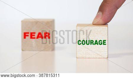 Courage - Fear Signpost Isolated On White Background.