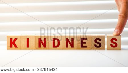 Word Kindness Made With Wood Building Blocks, Stock Image.