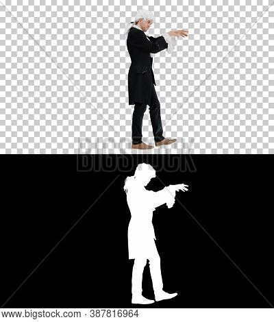 Man Dressed Like Mozart Conducting While Walking, Alpha Channel