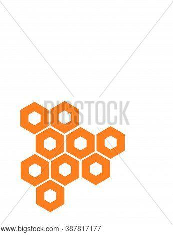 Orange Honeycomb Bee Shape Pattern Vector Logo And Background