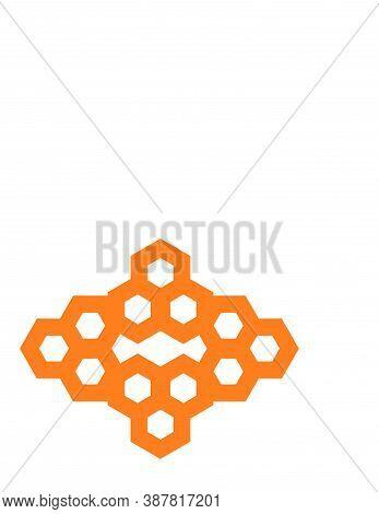 Orange Honeycomb Shape Pattern Vector Logo And Background