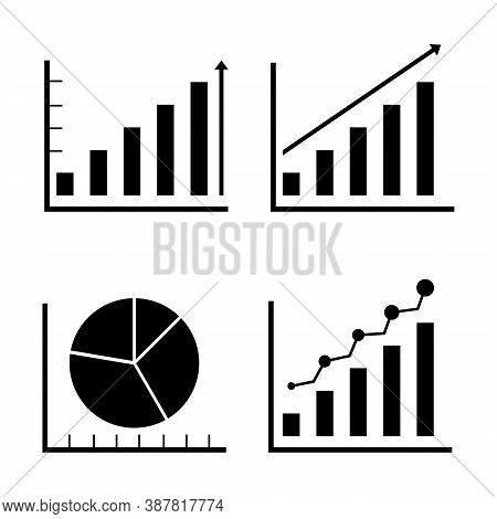 Business Graphs And Charts Icons. Business Infographics Icons. Statistic And Data, Charts Diagrams,